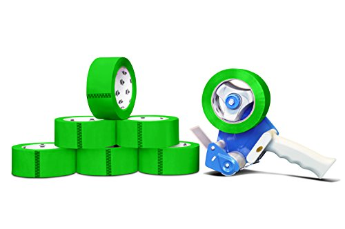 Colored Packing Shipping Tape Green 2'' 55 Yards 72 Rolls 2 Mil + (2) Free 2 Inch Tape Gun Dispenser by PackagingSuppliesByMail
