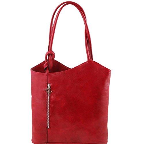 Tuscany Leather - Patty - Sac en cuir convertible en sac à dos - Rouge