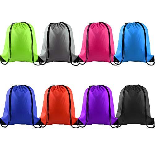 KUUQA 8 Pcs Drawstring Backpack Bag String Bag Sack Cinch Tote Gym Bag Storage Backpack for Gym Sport or Traveling, 8 Colors -