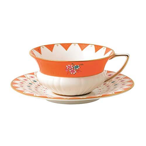 Wedgwood 40024019 Wonderlust Teacup & Saucer Set Peony Diamond, 2 Piece