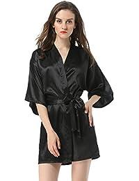 Women's Satin Plain Short Kimono Robe Bathrobe