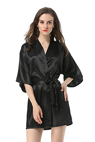 Vogue Forefront Women's Satin Plain Short Kimono Robe Bathrobe, Small, Black