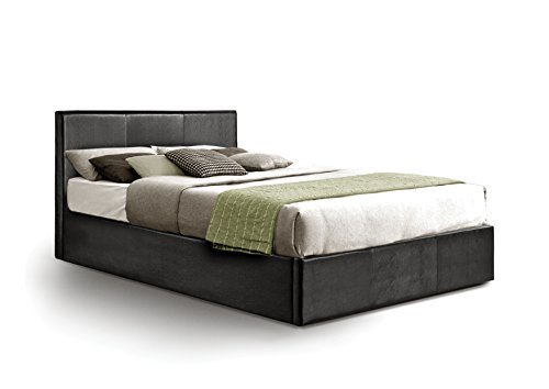 Stupendous Ottoman Double Storage Bed Upholstered In Faux Leather 4Ft 6 Black Dailytribune Chair Design For Home Dailytribuneorg