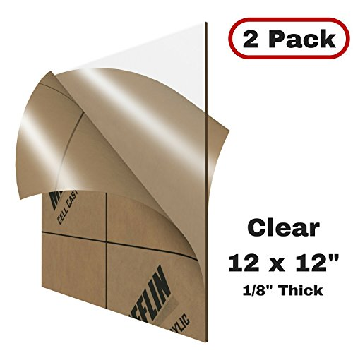 Clear Cast Acrylic Sheet (MIFFLIN Cast Acrylic Plexiglass, Transparent Clear (12x12 Inch, 2 Pack) Plastic Sheet, 0.118