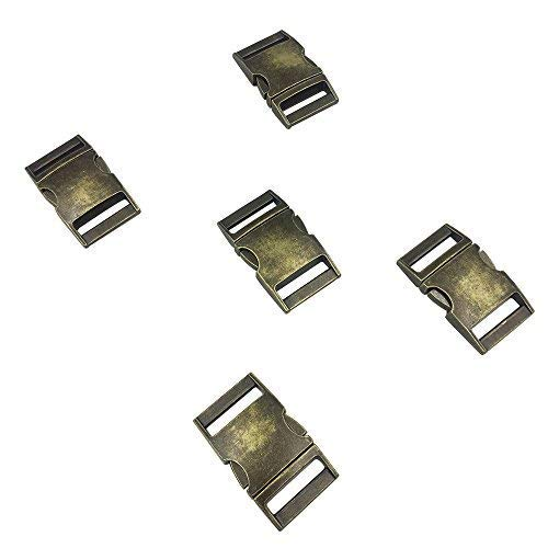 Flat 1-Inch Bronze Color Metal Side Release Buckles (Pack of 5pcs) by DGQ