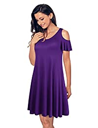 UniSweet Womens Summer Cold Shoulder Tunic Top T-shirt Swing Dress
