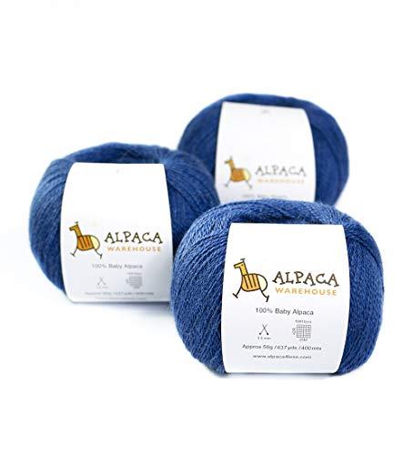 - 100% Baby Alpaca Yarn Wool Set of 3 Skeins Lace Weight (Steel Blue)