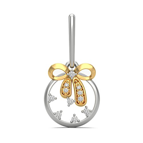 18K Or Blanc 0,16CT TW Round-cut-diamond (IJ | SI) Pendants d'oreilles