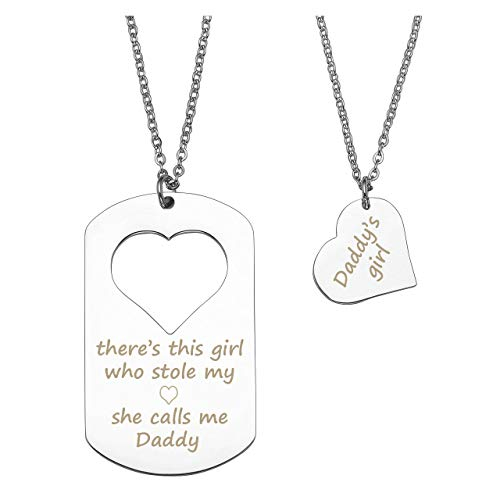 Personalized Master Free Engraving Custom Stainless Steel Dog Tag Pendant with Cut Out Heart Necklace Set for Couples Daddy Girl Father Daughter Christmas Birthday -