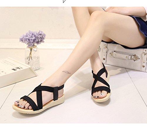 Noir 1 2 Bleu 41 Beige Plateform Chaussures Compensé modèle Noir Femmes Vinstoken Mince Plage Loisirs Été choisissez Slingback Taille Sandales Marron Roman Slipper Rouge 35 g7PwBq