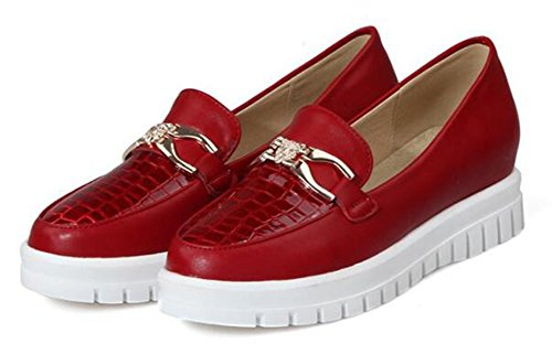 CHFSO Womens Comfortable Metal Decoration Solid Round Toe Slip On Low Top Low Heel Loafers Red NWUatl
