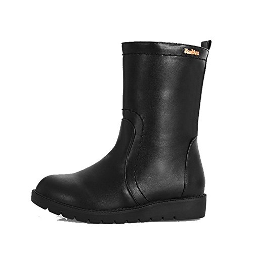 Boots PU On Toe Pull Round Low Black Low Closed Top Heels WeiPoot Women's wqEP8XH