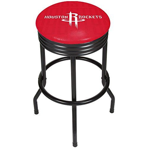 - Trademark Gameroom NBA1006-HR3 NBA Black Ribbed bar Stool - City - Houston Rockets