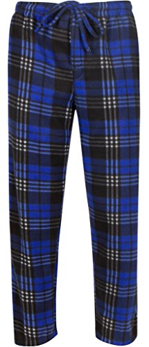 Premium Lounge Pants for Men - Luxurious Coral Fleece - Adjustable Size - L Blue & Black Plaid