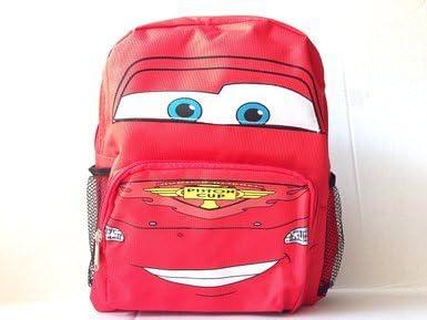 """Disney Pixar Cars Lightning Mcqueen 16/"""" backpack Face 3D Shape For Kids"""