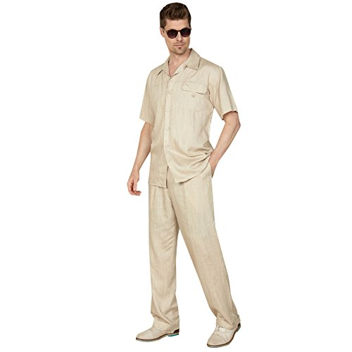 Mens Casual Linen/Cotton Blend Suit With 1-Button Flap Pocket Flap Pocket, Natural 2XL 40/34 by Sebastian Taheri Uomo