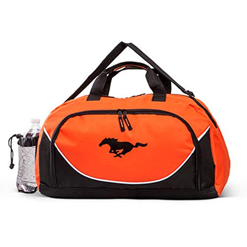 Gregs Automotive Ford Mustang Orange Black Duffel Bag - Bundle with Driving Style Decal