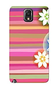 Awesome OBHUgJd10136GKtZF Crazinesswith Defender Tpu Hard Case Cover For Galaxy Note 3- Flowers On Colorful Stripes