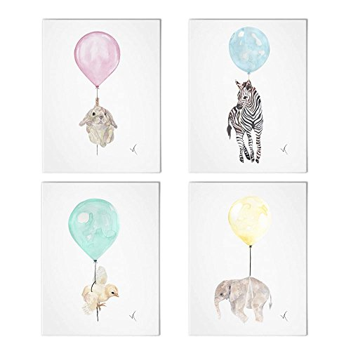 "- Vieli Arte Baby Chicken Balloon Watercolor Animal Signed Print of Original Watercolor Painting. Art Print, Wall Art Poster. Home Decor Wall Hanging. Illustration Size 8.5"" x 11"" (Chick in The Sky)"