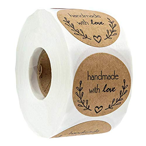 Louise Maelys 1quot Kraft Paper Round Sealing Stickers Handmade with Love Sticker Labels for Gift Wrapping or Craft Making 500pcs per Roll