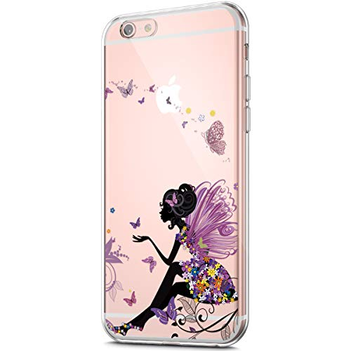 ikasus Case for iPhone 6S Plus/iPhone 6 Plus Case,Clear Art Panited Pattern Design Soft & Flexible TPU Ultra-Thin Transparent Flexible Soft Rubber Gel TPU Protective Case Cover,Butterfly Angel girl