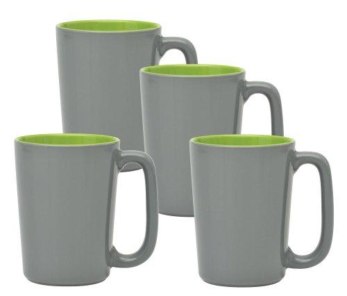Culver SLAT Mug, 16-Ounce, Grey Lime, Set of 4