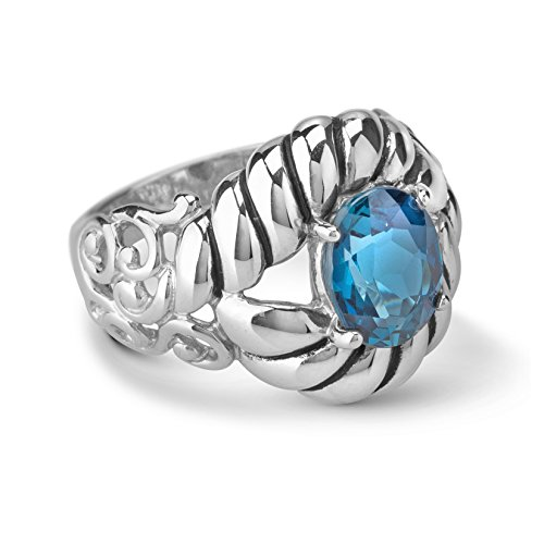 Carolyn Pollack Radiant Faceted London Blue Topaz Bold ring ()