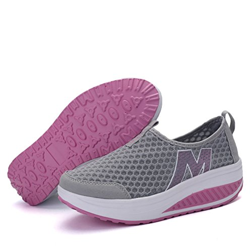 SAGUARO Ladies Soft Toning Rocker Shoes Womens Mesh Sports Tennis Shoes Slip on Wedges Platform Shoes Lightweight Fitness Walking Shoes A-grey Lj7sLneF