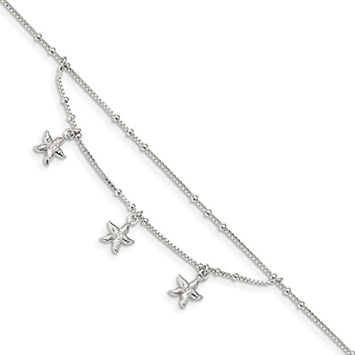 - 925 Sterling Silver 2 Strand Starfish 9 Inch 1 Adjustable Chain Plus Size Extender Anklet Ankle Beach Bracelet Seashore Fine Jewelry For Women Gift Set