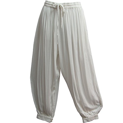 Pants Yoga Meditation (Men's Indian Aladdin Gypsy Hippie Yoga Meditation Harem Pants (White))