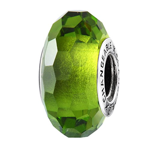 Murano Glass Charms Beads for Bracelets, Olivine Green, 925 Sterling Silver (Big Birthstone Stone)