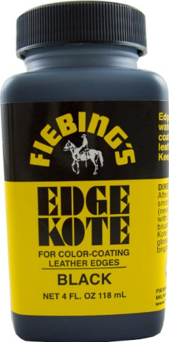 Fiebing's Black Edge Kote, 4 Oz. - Color Coats Leather Edges - Black Leather Finish