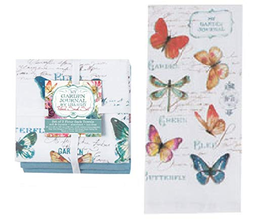 Butterfly Garden Print - Kay Dee Butterfly Garden Flour Sack Dish Drying Kitchen Towel 4 Piece Set - 2 Butterfly Floral Print and 2 Solid Blue from Designs