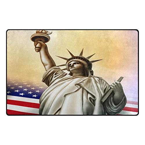 Statue of Liberty with USA America Flag Area Rug Non Slip Indoor Mat Rug for Chair Office and Home Decorative Floor 31x20 or 60x39 inch - Usa Flowers Heys