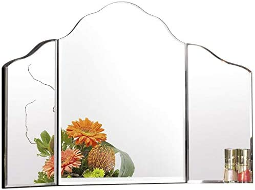 Tangkula Trifold Vanity Mirror, Tabletop Makeup Dressing Cosmetic Mirror with Beveled Edges