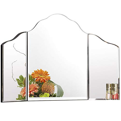 Tangkula Trifold Vanity Mirror, Tabletop Makeup Dressing Cosmetic Mirror with Beveled -