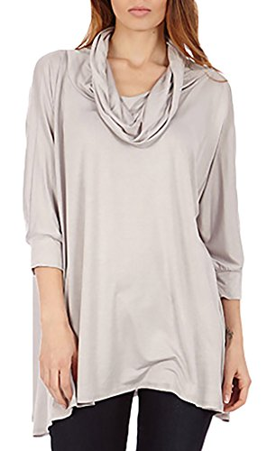 - Dinamit's Women 3 Way Cowl Neck Poncho Sweater Silver S-L