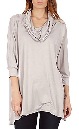Dinamit's Women 3 Way Cowl Neck Poncho Sweater Silver XL-3XL