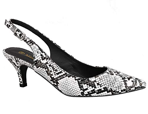 Greatonu Womens Slingback Dress Pump (39 EU/8 US, White Snake - Pointed Toe Print Pumps