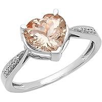 Dazzlingrock Collection 14K Gold Heart-Shaped Morganite & Round Diamond Ladies Bridal Promise Engagement Ring