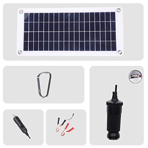 TISHI HERY 18V 12V 12W Solar Car Battery Charger and Maintainer Portable Flexible Solar Panel Trickle Charger with USB, Cigarette Lighter Plug, Alligator Clip for Motorcycle RV Boat Marine Snowmobile