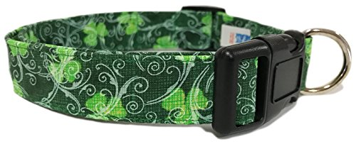 Adjustable Dog Collar in Green with Shamrocks and Swirls, used for sale  Delivered anywhere in USA