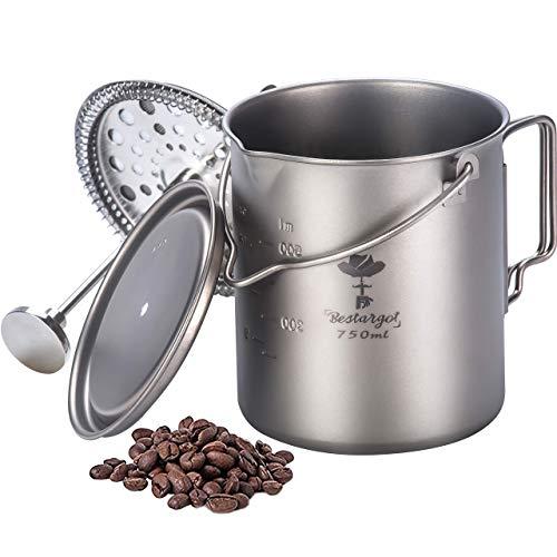 Bestargot Cafetera Francesa de Presión, Olla de Titanio Puro con Sistema de Filtración de Acero Inoxidable, Taza…