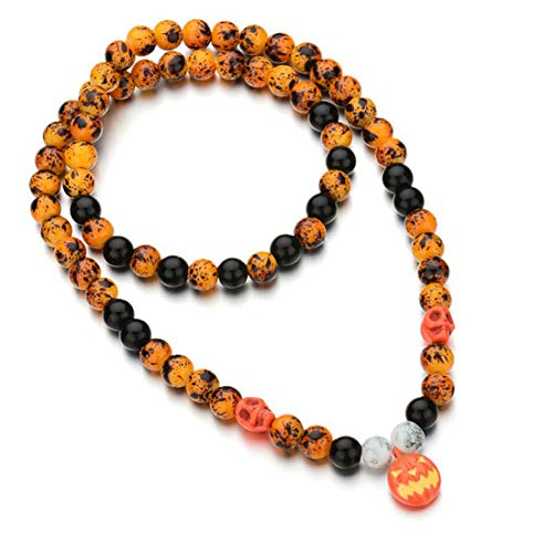 (IDOXE Halloween Necklace Beaded Pumpkin Jack O Lantern Pendant Outfits for Men Women Chunky Bubblegum Halloween Party)