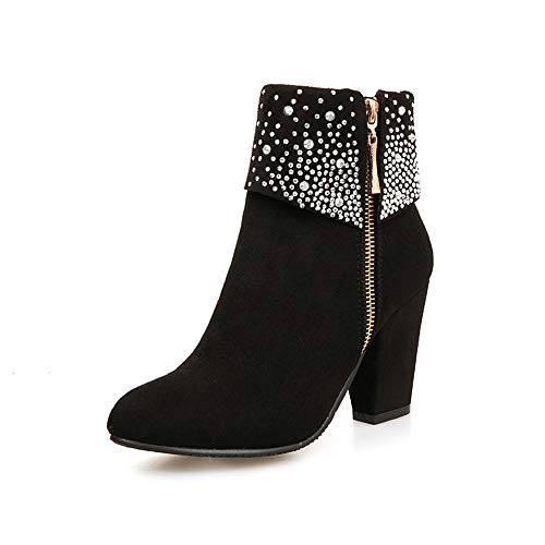 Jacket Leather Shift (Sunhusing Round Head Crystal Decor High Heel Side Zipper Ankle Boots Thick Heel Shoes)