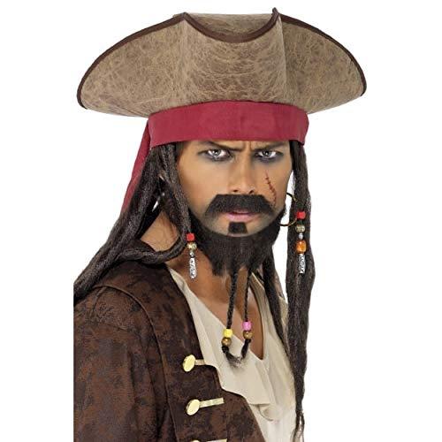 Jack Sparrow Mustache (Pirate Hat with Dreadlocks Costume)