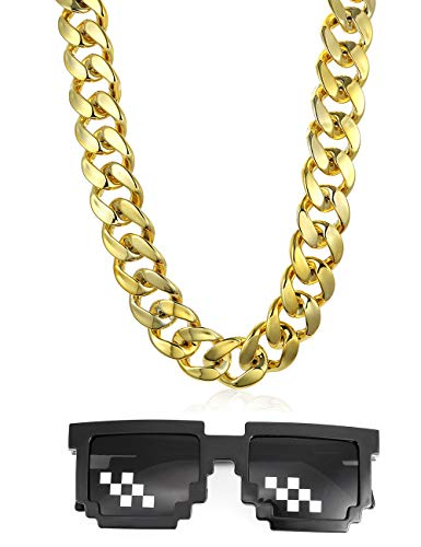 VALIJINA 80s 90s Hip Hop Costume Jewelry for Women Men Gold Acrylic Chain Necklace Sunglasses Rapper Punk Style Costume Kit ()