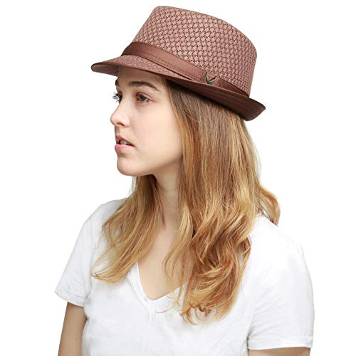 - Black Horn 200G1015 Classic Cool Soft Mesh Fedora hat (L/XL, Brown)