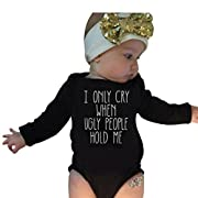 Adorable Infant Baby Girls Clothes Funny Letter Print Long Sleeve Romper+Bowknot Headband Set (0-6M, Black)
