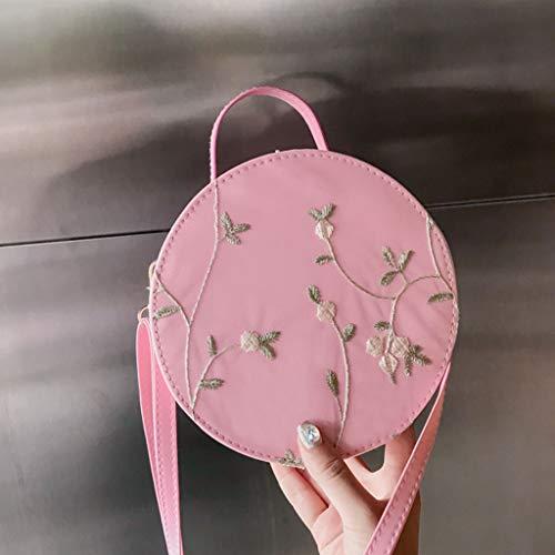 Bag a tracolla Fashion Small Pink Round unita Borsa tinta Lace Women Cool Fenebort 5Zqcgg